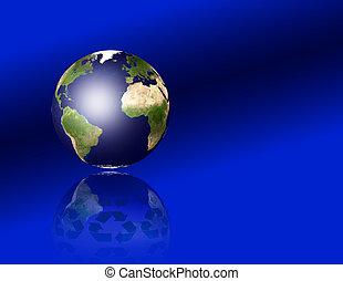 tierra, con, reciclar, símbolos