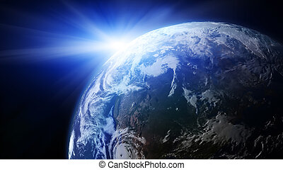 tierra, con, sol creciente