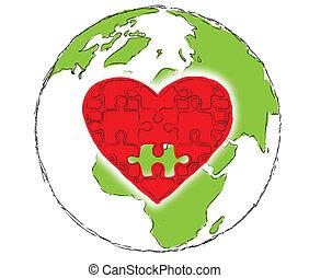 tierra, corazón, planeta rojo
