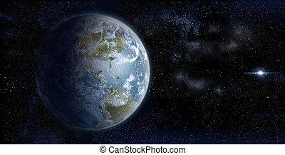 tierra, de, espacio, en, un, starfield, fondo