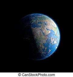 tierra, de, espacio exterior