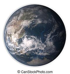 tierra de planeta, aislado, blanco, plano de fondo