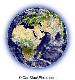 tierra de planeta, blanco
