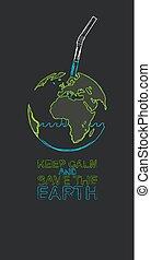 tierra de planeta, con, bebida, straw., ecológico, concepto