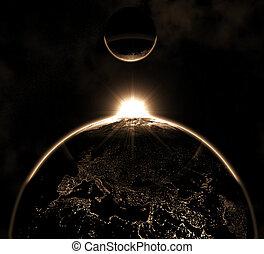 tierra de planeta, con, luna, hi-res