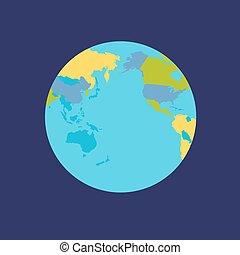 tierra de planeta, con, países, vector, illustration.