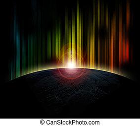 tierra de planeta, con, salida del sol