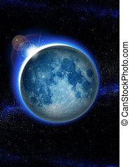 tierra de planeta, con, salida del sol, en, espacio