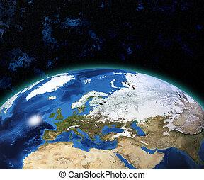 tierra de planeta, con, sol, levantamiento, encima, europeo, países