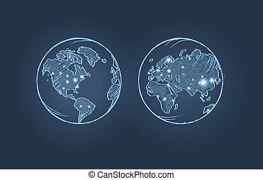 tierra de planeta, de, dos, lados, vector, ilustración