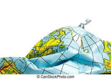 tierra de planeta, desinflado