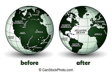 tierra de planeta, después, antes