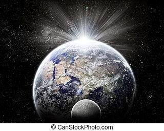 tierra de planeta, eclipse