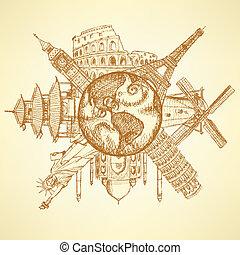 tierra de planeta, edificios, famoso, bosquejo, alrededor
