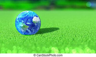 tierra de planeta, en, el, césped del golf, course., américa, áfrica, europe., concept., 3d, rendering.