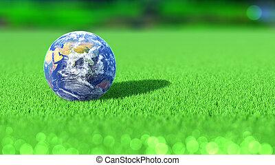 tierra de planeta, en, el, césped del golf, course., india., concept., 3d, rendering.