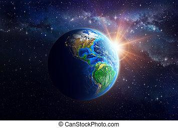 tierra de planeta, en, espacio exterior
