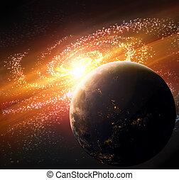 tierra de planeta, en, espacio