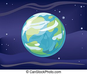 tierra de planeta, en, espacio, plano de fondo