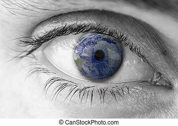 tierra de planeta, en, ojo humano