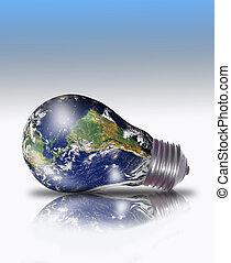 tierra de planeta, en, un, bombilla