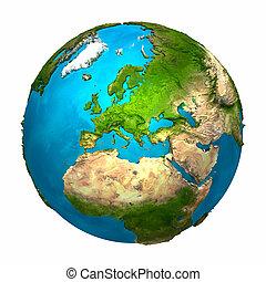 tierra de planeta, -, europa