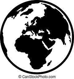 tierra de planeta, europa, y, áfrica