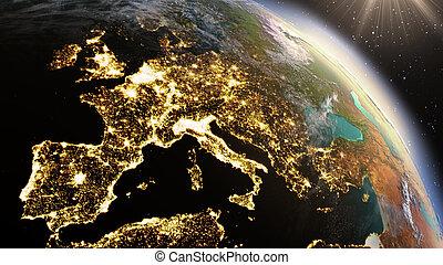 tierra de planeta, europa, zone., elementos, de, esto,...