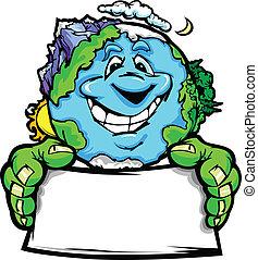tierra de planeta, feliz, tenencia, señal