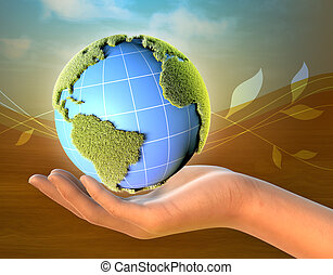 tierra de planeta, hembra, llevar a cabo la mano