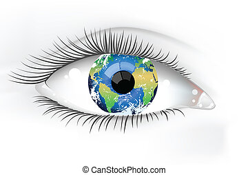 tierra de planeta, ojo, desaturated