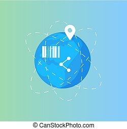 tierra de planeta, red global, y, social, conexión