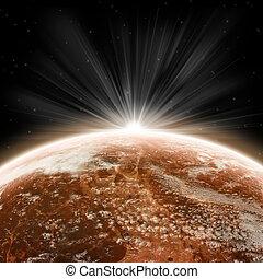 tierra de planeta, salida del sol
