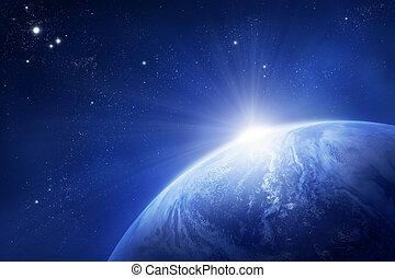 tierra de planeta, sol creciente