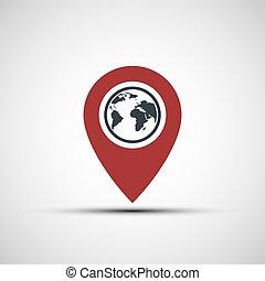 tierra de planeta, vector, indicador, icono