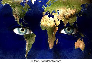 tierra de planeta, y azul, humano, ojos
