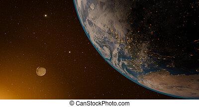 tierra de planeta, y, luna