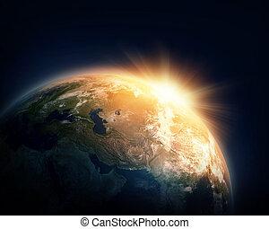 tierra de planeta, y, sol