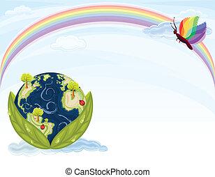 tierra, ecología, verde, -
