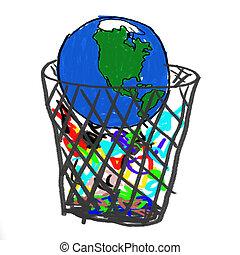tierra, en, basura