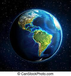 tierra, en, el, espacio, -, universo