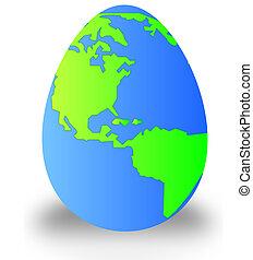 tierra, en, el, forma, de, un, huevo