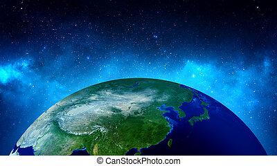tierra, en, espacio, con, nebulosa