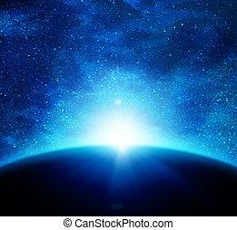 tierra, en, espacio, contra, el, sol