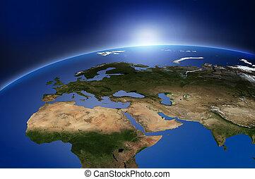 tierra, en, espacio exterior