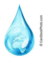 tierra, en, gota agua