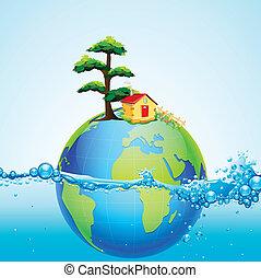 tierra, en, salpicadura, de, agua