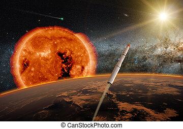 tierra, encima, hypersonic, misil