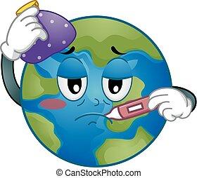 tierra, enfermo, ilustración, mascota