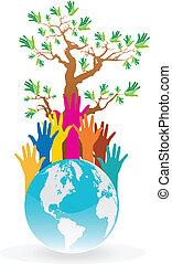 tierra, excepto, árbol, idea, manos